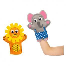 Pack 2 Marionetas Elefante y León.