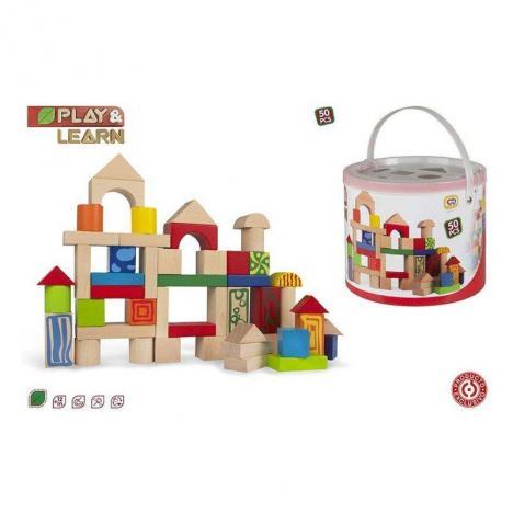 Comprar Play & Learn - Cubo 50 Bloques Construcción Madera. de COLOR ...