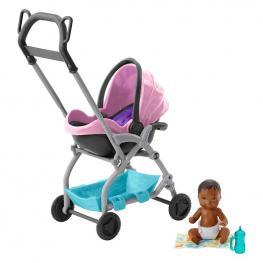 Barbie Skipper Babysitters Bebés y Accesorios - Carrito Rosa.