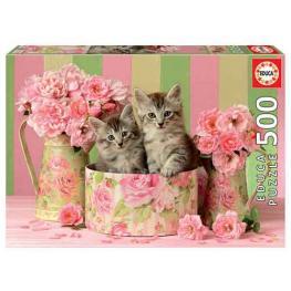 Puzzle Gatitos Con Rosas 500 piezas