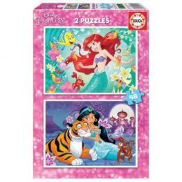 Puzzle Ariel y Jasmine 2x48 piezas