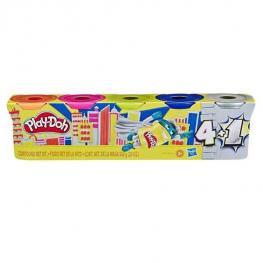 Play-Doh Pack 4 Botes + 1 Bote Plateado