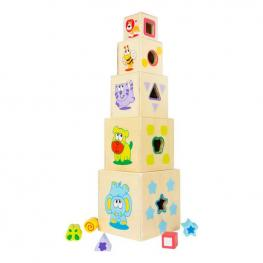 Torre Cubos de Madera 52cm. 10 Piezas