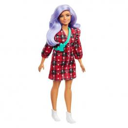 Barbie Fashionista - Muñeca Pelo Lila con Vestido de Cuadros