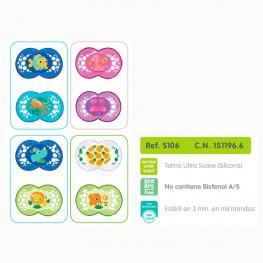 Chupetes MAM Original Silicona +6 meses - Pack de 2 unidades