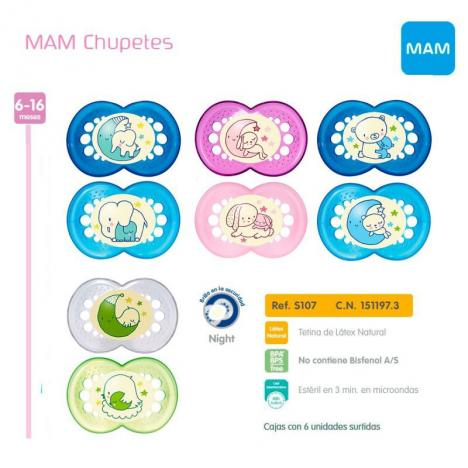 Chupetes Night MAM Latex +6 meses - Pack de 2 unidades