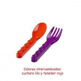 CUBIERTOS (CUCHARA LILA-TENEDOR ROJO)