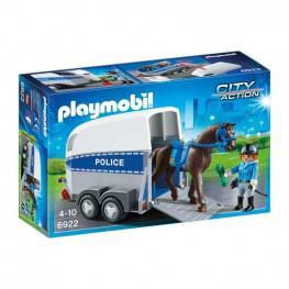 Playmobil Policia Con Caballo y Remolque.
